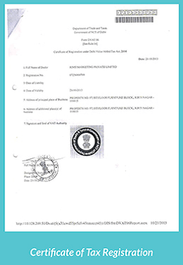 Certificate of Tax Registration