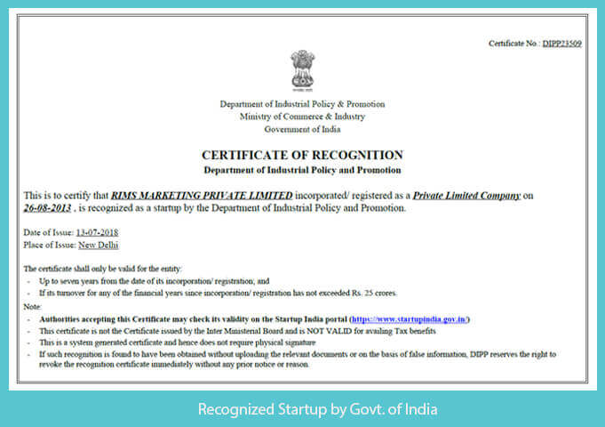 Recognized by Startup Govt. of India
